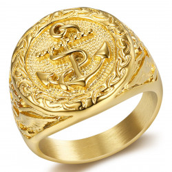 BA0251 BOBIJOO Jewelry Siegelring Goldener Ring Mann Anker Navy Gold Eagle Nation