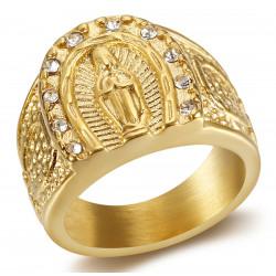 BA0272 BOBIJOO Anello gioielli Anello con sigillo Camargue Ferro di cavallo in acciaio vergine oro