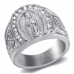 BA0272S BOBIJOO Anello gioielli Anello con sigillo Camargue a ferro di cavallo in acciaio vergine argento