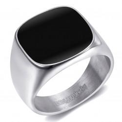 BA0316 BOBIJOO Jewelry Anillo de Sello Cabujón Acero Esmaltado Plata