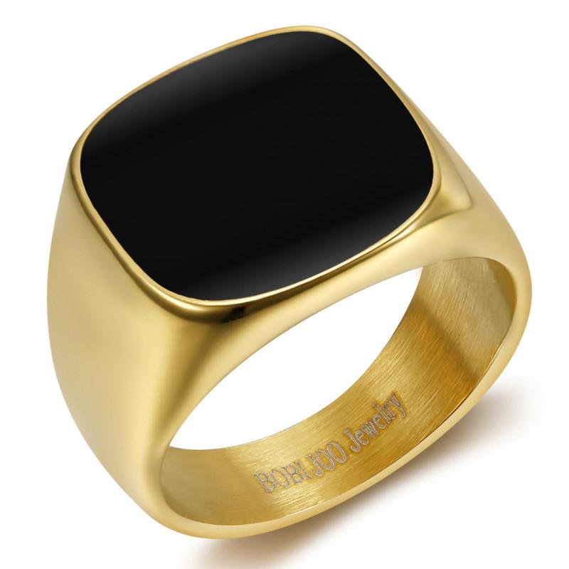 BA0317 BOBIJOO Anello con sigillo di gioielli Cabochon in acciaio smaltato dorato