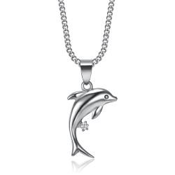 PEF0006 BOBIJOO Gioielli in acciaio 316L con ciondolo a delfino in argento con diamanti