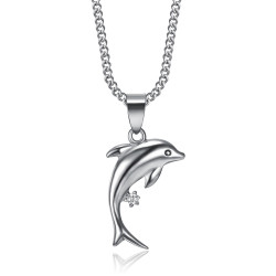 PEF0006 BOBIJOO Jewelry Colgante de delfín de acero 316L Plata de diamante