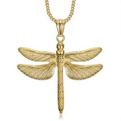 PEF0009 BOBIJOO Jewelry Große Libelle Anhänger Halskette 316L Stahl Gold