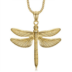 PEF0009 BOBIJOO Jewelry Large Dragonfly Pendant Necklace 316L Steel Gold
