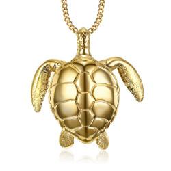 PEF0010 BOBIJOO Jewelry Große Schildkröte Anhänger Halskette 316L Stahl Gold