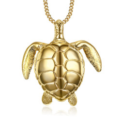 PEF0010 BOBIJOO Jewelry Large Turtle Pendant Necklace 316L Steel Gold