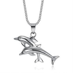 PEF0011 BOBIJOO Coppia di ciondoli di gioielli Dolphin Love Acciaio 316L Argento