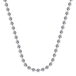 COH0034S BOBIJOO Collana a catena di gioielli Perline a maglie Palline Perline 4mm 55cm Acciaio argento