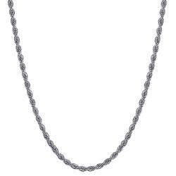 COH0027S BOBIJOO Jewelry Collar De Cadena Cuerda De Malla Torcida 3mm 55cm Acero Plata