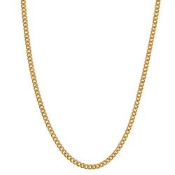 COH0028 BOBIJOO Jewelry Collar Cadena Malla Cubana 2mm 45cm Acero Dorado