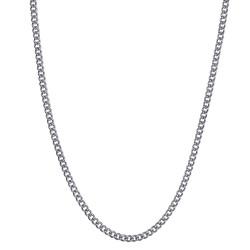 COH0028S BOBIJOO Collana con catena di gioielli in maglia cubana 2 mm 45 cm in acciaio argento