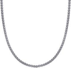 COH0030S BOBIJOO Jewelry Collar de Cadena Rollo de Malla 3mm 55cm Acero Plata