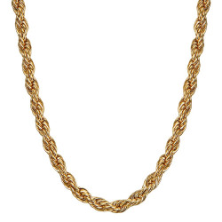 COH0031 BOBIJOO Collana con catena di gioielli Corda a maglia intrecciata 5mm 55cm Acciaio oro