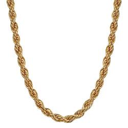 COH0031 BOBIJOO Jewelry Collar De Cadena Cuerda De Malla Torcida 5mm 55cm Acero Dorado