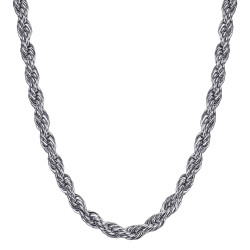 COH0031S BOBIJOO Jewelry Chain Necklace Twisted Mesh Rope 5mm 55cm Steel Silver