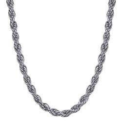 COH0031S BOBIJOO Jewelry Collar De Cadena Cuerda De Malla Retorcida 5mm 55cm Acero Plata