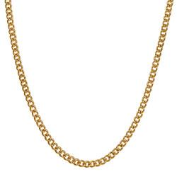 COH0032 BOBIJOO Collana con catena di gioielli Maglia cubana 3 mm 55 cm Acciaio oro