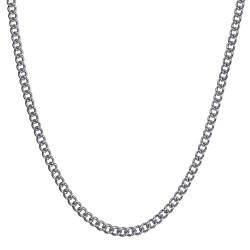 COH0032S BOBIJOO Jewelry Collar de Malla Cubana Cadena 3mm 55cm Acero Plata