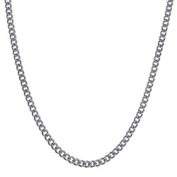 COH0032S BOBIJOO Jewelry Cuban Mesh Necklace Chain 3mm 55cm Steel Silver