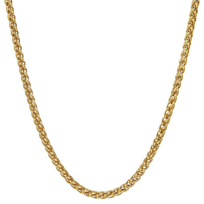 COH0033 BOBIJOO Jewelry Collar De Cadena Malla Fibra De Trigo 3mm 55cm Acero Dorado