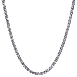 COH0033S BOBIJOO Jewelry Chain Necklace Mesh Wheat Fiber 3mm 55cm Steel Silver