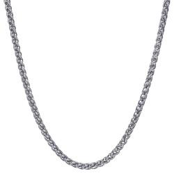 COH0033S BOBIJOO Jewelry Collar Cadena Malla Fibra De Trigo 3mm 55cm Acero Plata