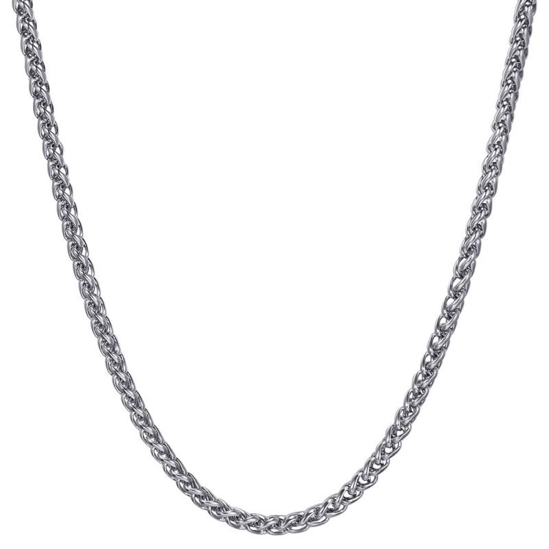 COH0033S BOBIJOO Jewelry Kette Halskette Mesh Weizenfaser 3mm 55cm Stahl Silber