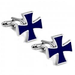 BM0011 BOBIJOO Gioielli Gemelli Croce Maltese Templare Blu