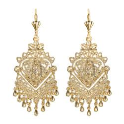 BOF0104 BOBIJOO JEWELRY Earrings Dangling Silver-tone Metal Flowers