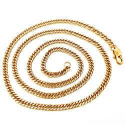 Cadena de Malla de Frenar la cadena de 60 cm 4 mm de Acero Inoxidable de Oro IM#18534