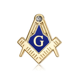 Pins Masonic G Bracket Compass Blue, Gold, Zirconium IM#18557