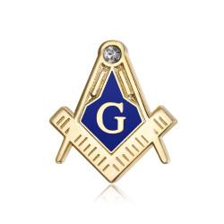 Pins Masonic G Equerre Compas Bleu Doré à l'Or Fin Zirconium IM#18557