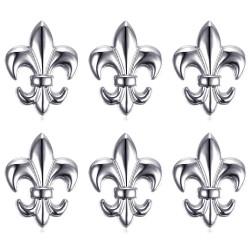 Lote de 6 Pin Chincheta Broche de Fleur-de-Lys de Latón de Plata IM#18593