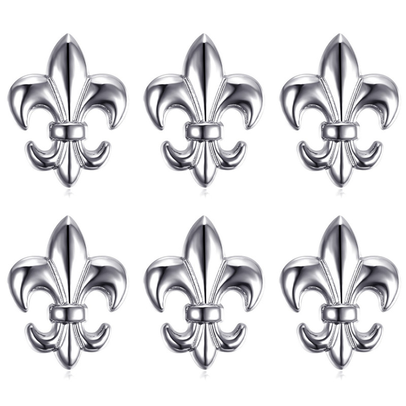 Lot de 6 Pin's Epingle Broche Fleur de Lys Laiton Argenté IM#18593