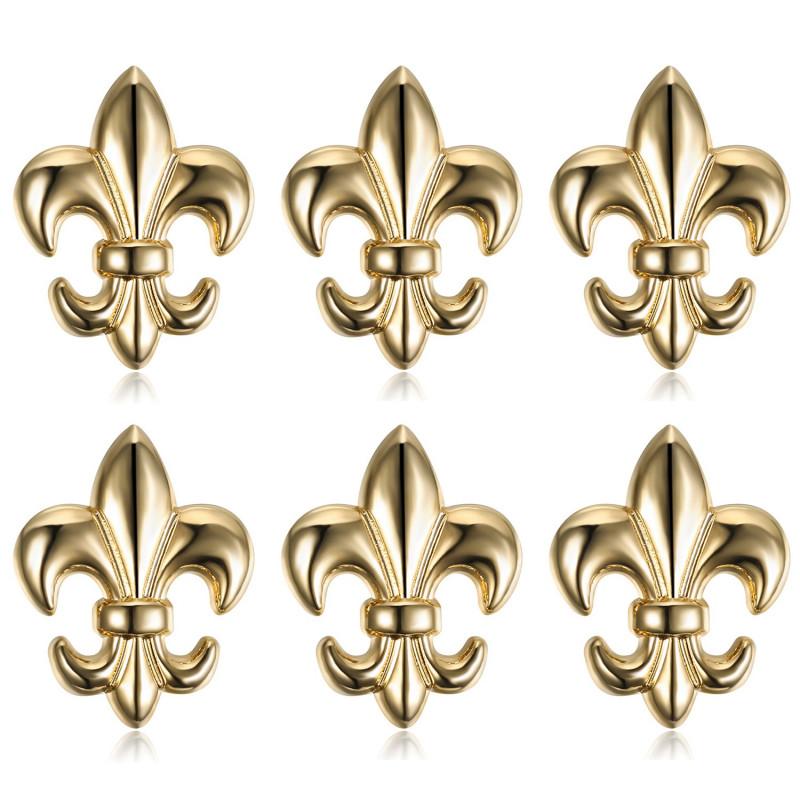 Lot de 6 Pin's Epingle Broche Fleur de Lys Laiton Doré IM#18614