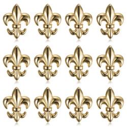 PIN0032-12 BOBIJOO Jewelry Lot von 12 Fleur-de-Lys-Stiften aus Messing, vergoldet mit feinem Gold