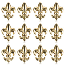 Lotto di 12 spille Fleur-de-Lys in ottone dorato con bobijoo in oro zecchino