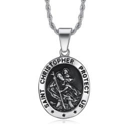 PE0099 BOBIJOO Jewelry Medallón Colgante De San Cristóbal, Patrono De Los Viajeros
