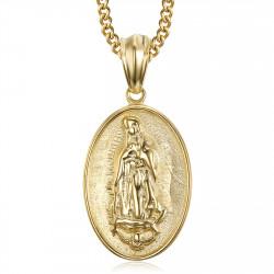 PE0106 BOBIJOO Jewelry Imposanter Anhänger Stahl Gold-Unsere liebe Frau von Lourdes
