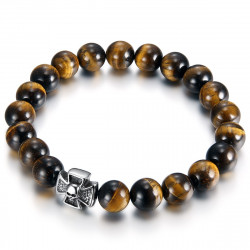 Bracelet Stone Tiger Eye Cross Pattee Templar Skull IM#18845