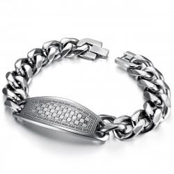 GO0012 BOBIJOO Jewelry Curb Catena Bracciale Uomo Pad Mosaico A Scacchiera