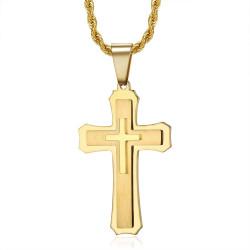 PE0208 BOBIJOO Jewelry Ciondolo croce uomo 3 spessori Acciaio Oro