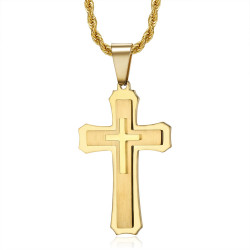 PE0208 BOBIJOO Jewelry Men's cross pendant 3 thicknesses Steel Gold