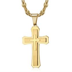 PE0208CAF BOBIJOO Jewelry Collar de grano de café de acero dorado con colgante de cruz para hombre