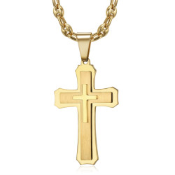 PE0208CAF BOBIJOO Jewelry Men's cross pendant Steel Gold Coffee bean necklace