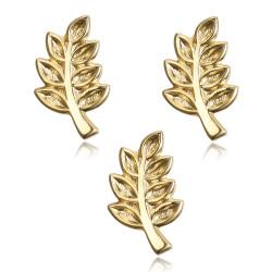 Lot de 3 Pins Branche d'Acacia Franc-Maçon Doré à l'Or Fin IM#19056