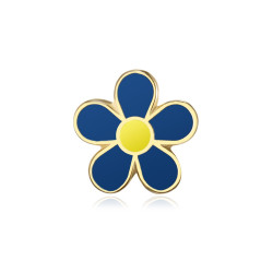 PIN0036-1 BOBIJOO Jewelry Forget-me-not Freemason 12mm gold and enamel pins