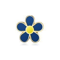 PIN0036-1 BOBIJOO Jewelry Forget-me-not Freemason 12mm spille in oro e smalto