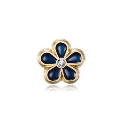 PIN0037-1 BOBIJOO Jewelry Alfileres de oro, esmalte y diamantes de nomeolvides Freemason de 8 mm